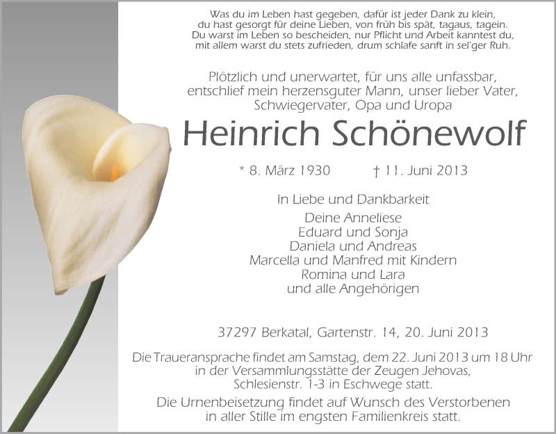 Traueranzeige für Heinrich Schönewolf vom 20.06.2013 aus Eschwege