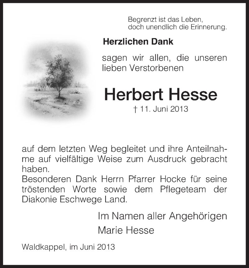Traueranzeige für Herbert Hesse vom 22.06.2013 aus Eschwege