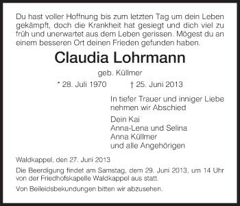 Traueranzeige von Claudia Lohrmann von Eschwege