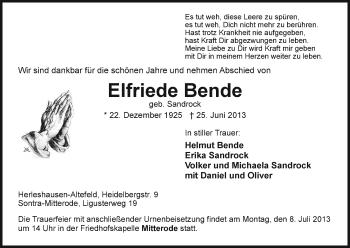 Traueranzeige von Elfriede Bende von Eschwege