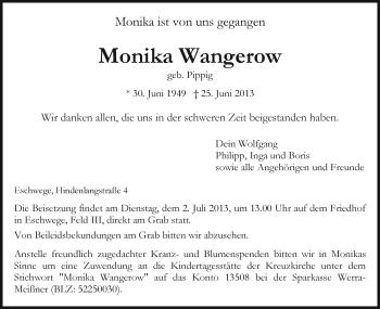Traueranzeige von Monika Wangerow von Eschwege