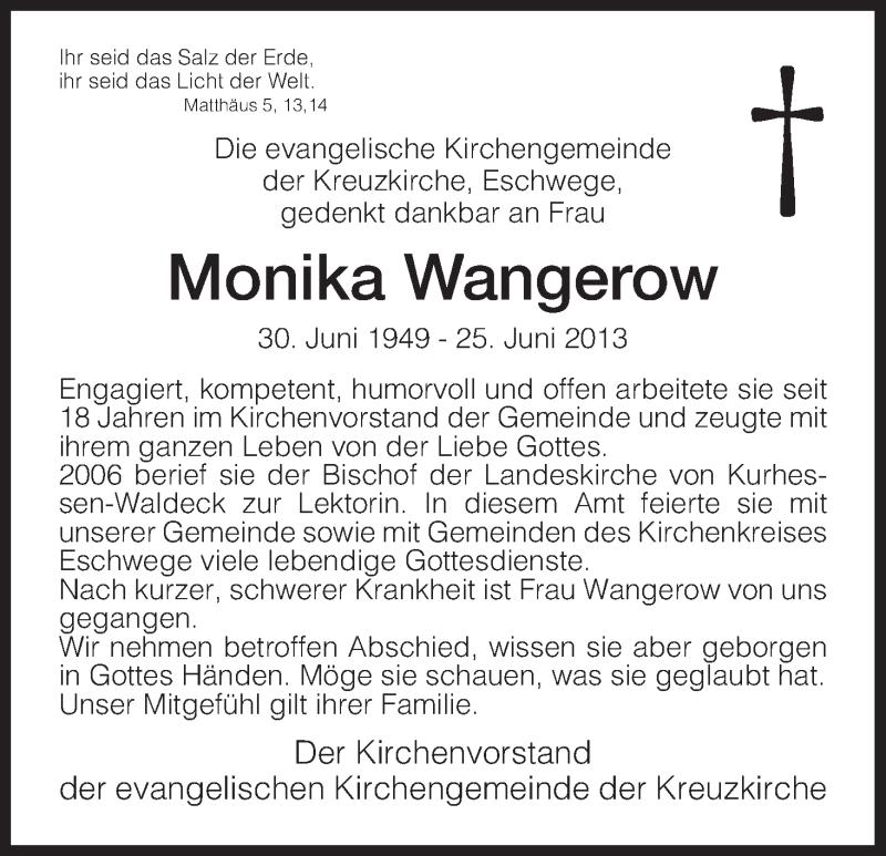 Anzeige von  Monika Wangerow