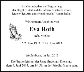 Traueranzeige von Eva Roth von Eschwege