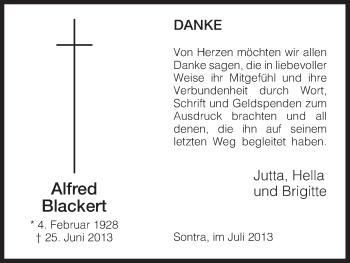Traueranzeige von Alfred Blackert von Eschwege