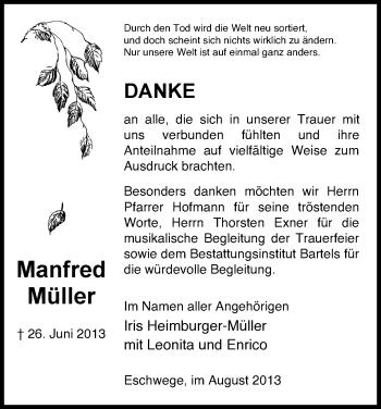 Traueranzeige von Manfred Müller von Eschwege