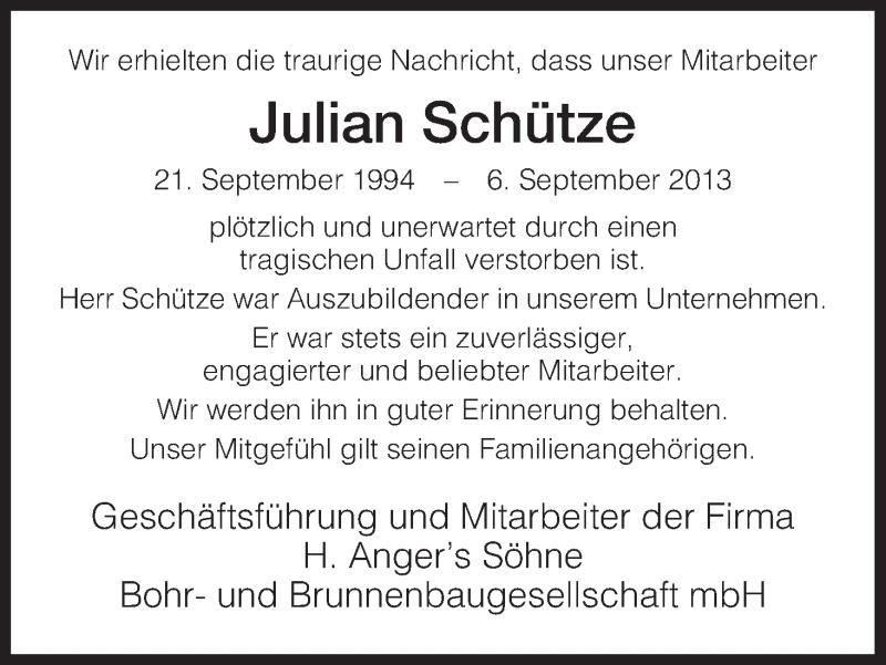 Traueranzeige für Julian Schütze vom 14.09.2013 aus Eschwege