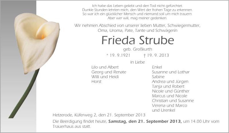 Traueranzeige für Frieda Strube vom 21.09.2013 aus Eschwege