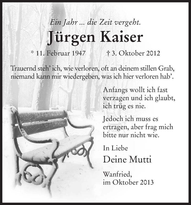 Anzeige von  Jürgen Kaiser