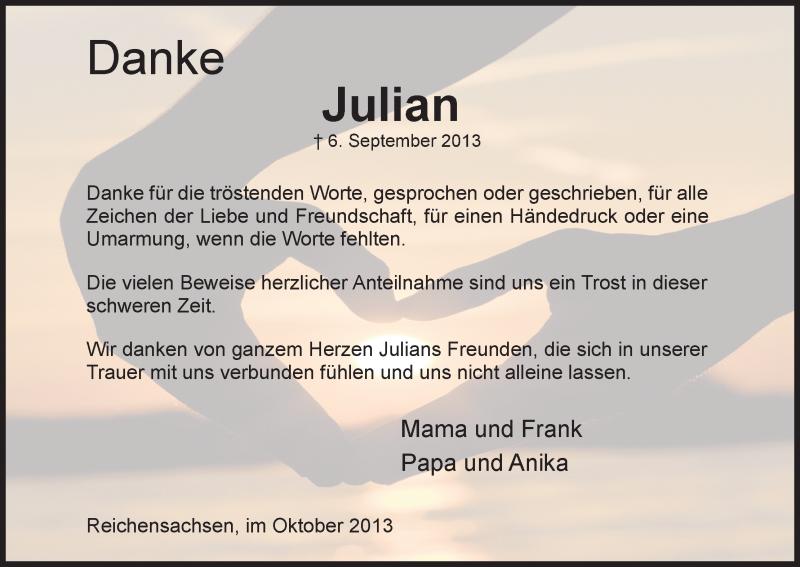Traueranzeige für Julian Schütze vom 05.10.2013 aus Eschwege