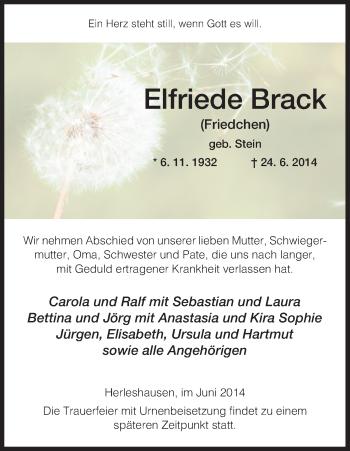 Traueranzeige von Elfriede Brack von Eschwege