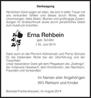 Traueranzeige von Erna Rehbein von Eschwege