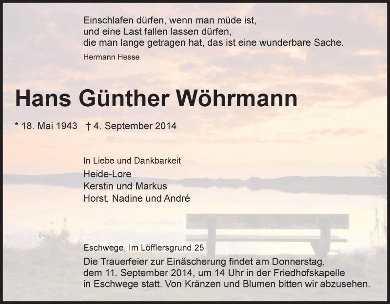 Anzeige von  Hans Günther Wöhrmann