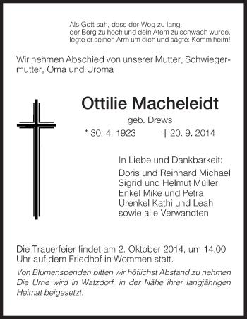 Traueranzeige von Ottilie Macheleidt von Eschwege