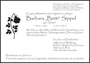Traueranzeige von Barbara Sippel von Eschwege