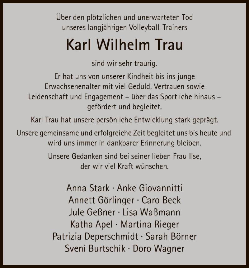 Traueranzeige für Karl Wilhelm Trau vom 01.06.2016 aus Eschwege