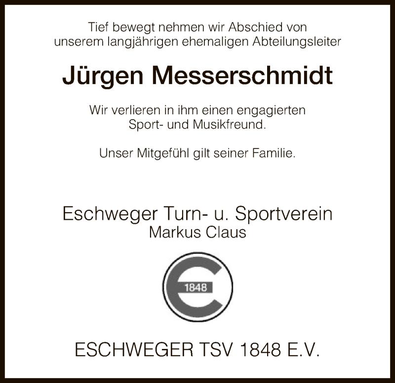 Traueranzeige für Jürgen Messerschmidt vom 18.01.2017 aus Eschwege