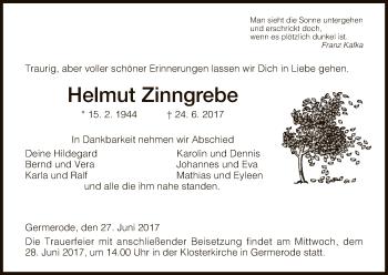 Traueranzeige von Helmut Zinngrebe von Eschwege