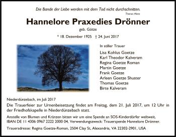 Traueranzeige von Hannelore Praxedies Drönner von Eschwege