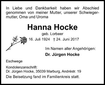 Traueranzeige von Hanna Hocke von Eschwege