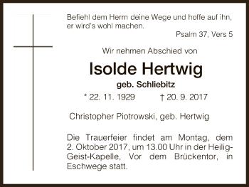 Traueranzeige von Isolde Hertwig von Eschwege