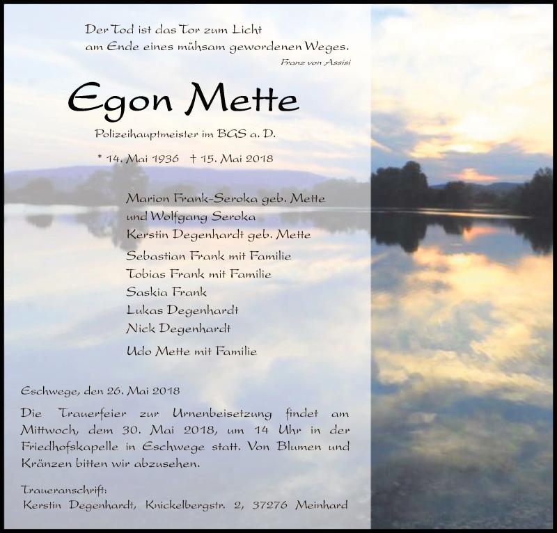 Traueranzeige für Egon Mette vom 26.05.2018 aus Eschwege