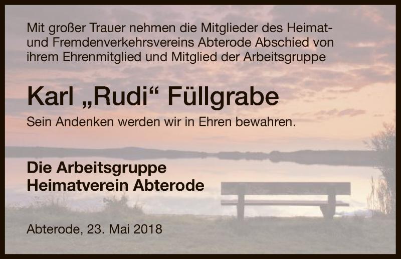 Traueranzeige für Karl  Füllgrabe vom 23.05.2018 aus Eschwege