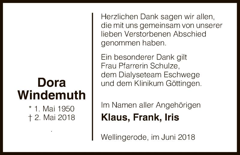 Traueranzeige für Dora Windemuth vom 09.06.2018 aus Eschwege