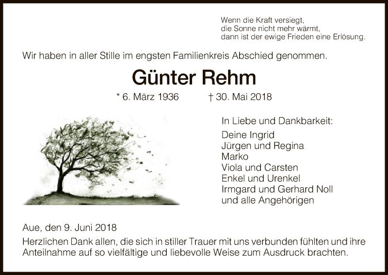 Traueranzeige für Günter Rehm vom 09.06.2018 aus Eschwege