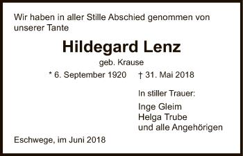 Traueranzeige für Hildegard Lenz vom 09.06.2018 aus Eschwege