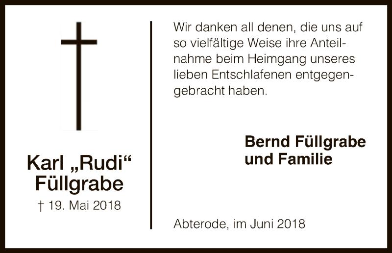 Traueranzeige für Karl  Füllgrabe vom 09.06.2018 aus Eschwege
