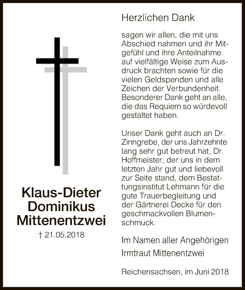 Traueranzeige für Klaus-Dieter Dominikus Mittenentzwei vom 09.06.2018 aus Eschwege