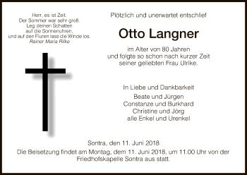 Traueranzeige für Otto Langner vom 11.06.2018 aus Eschwege
