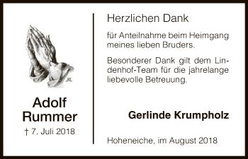 Traueranzeige von Adolf Rummer von Eschwege