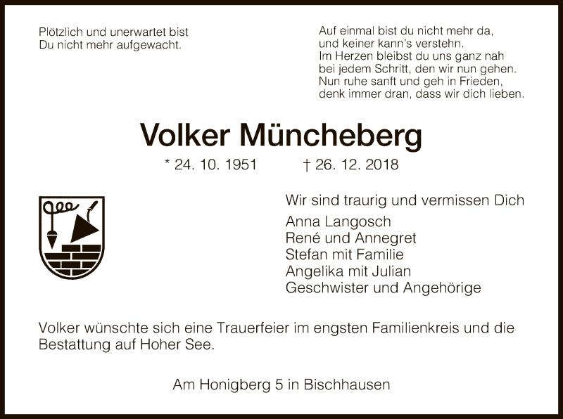 Traueranzeige für Volker Müncheberg vom 04.01.2019 aus Eschwege
