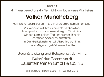 Traueranzeige für Volker Müncheberg vom 05.01.2019 aus Eschwege