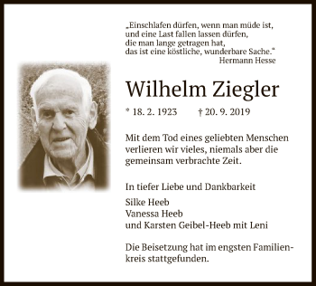 Traueranzeige von Wilhelms Ziegler von Eschwege