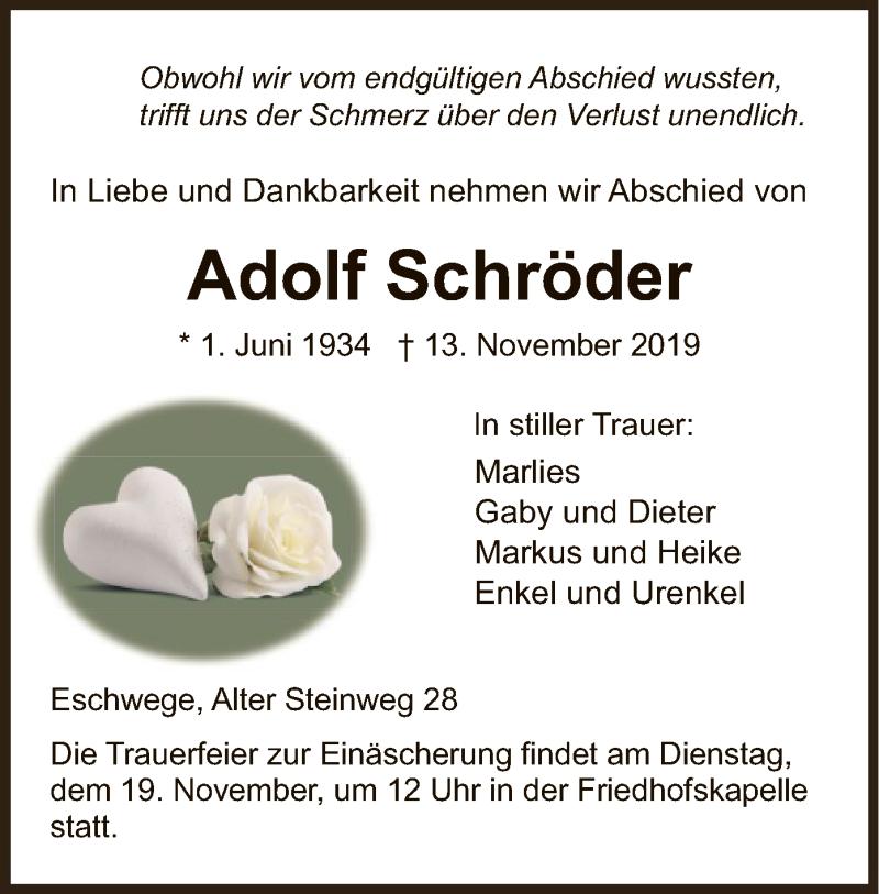 Anzeige von  Adolf Schröder