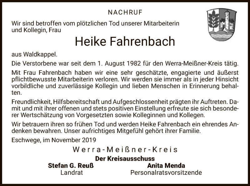 Traueranzeige für Heike Fahrenbach vom 30.11.2019 aus Eschwege