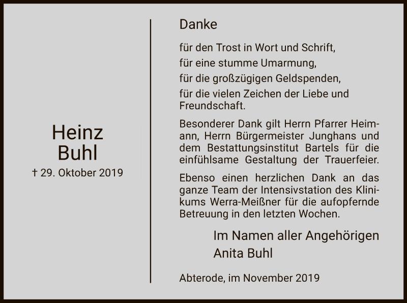 Anzeige von  Heinz Buhl