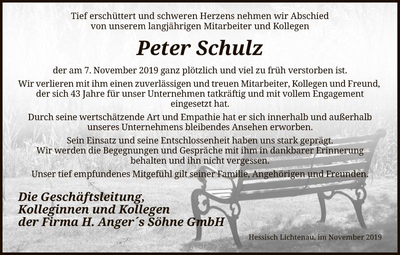 Anzeige von  Peter Schulz