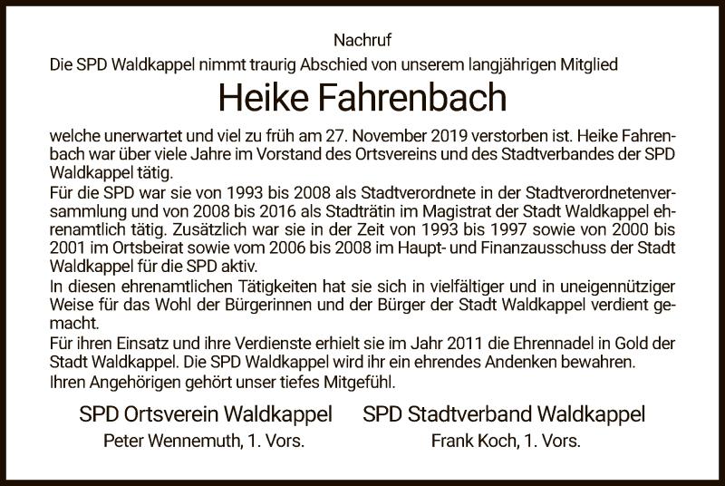 Traueranzeige für Heike Fahrenbach vom 18.12.2019 aus Eschwege
