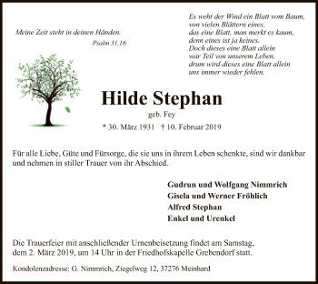 Traueranzeige für Hilde Stephan vom 27.02.2019 aus Eschwege