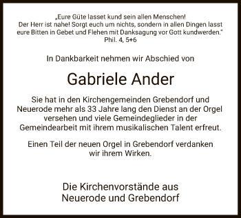 Traueranzeige für Gabriele Ander vom 09.03.2019 aus Eschwege