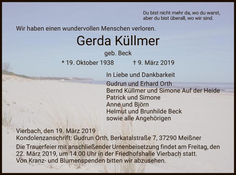 Traueranzeige für Gerda Küllmer vom 19.03.2019 aus Eschwege