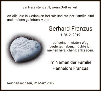 Traueranzeige für Gerhard Franzus vom 28.03.2019 aus Eschwege