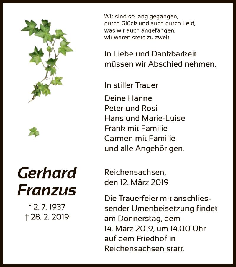 Traueranzeige für Gerhard Franzus vom 12.03.2019 aus Eschwege