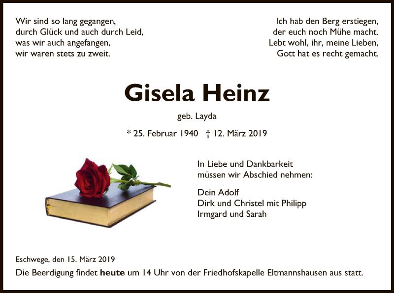 Traueranzeige für Gisela Heinz vom 15.03.2019 aus Eschwege
