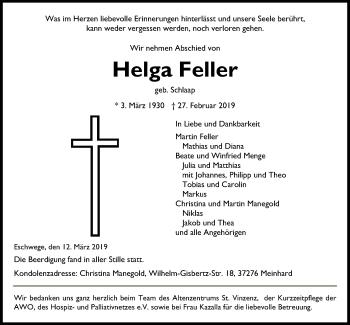 Traueranzeige für Helga Feller vom 12.03.2019 aus Eschwege