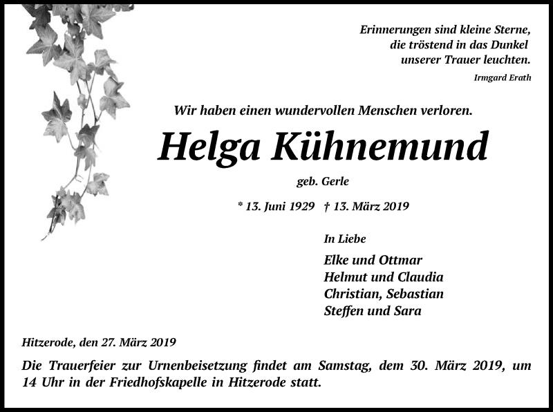 Traueranzeige für Helga Kühnemund vom 27.03.2019 aus Eschwege