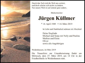 Traueranzeige für Jürgen Küllmer vom 23.03.2019 aus Eschwege